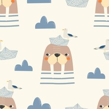 Seamless Pattern Of Cute Walrus And Sea Gull On A Paper Boat On A Yellow Background. Vector Illustration For Printing On Fabric, Packaging Paper, Postcards, Posters, Banners. Cute Baby Background