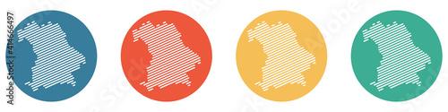 Bunter Banner mit 4 Buttons: Bundesland Bayern Fotobehang