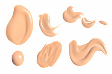 Set Of Brush Strokes For Makeup Bb Cream Isolated On White Background. Foundation Face Make-up Samples, Texture Of Face Concealer. Make Up Smears, Cosmetic, Foundation Colors Palette. Mock Up