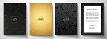 Modern Black And Gold Cover, Frame Design Set. Luxury Holiday Star Pattern With Golden Stars. Vector Luxe  Collection Background