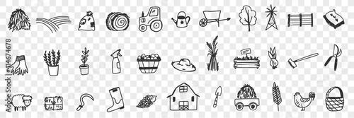 Leinwand Poster Farming tools and equipment doodle set