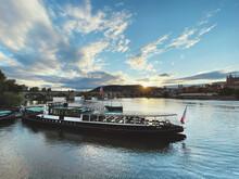 Boat On Vltava During Sunset
