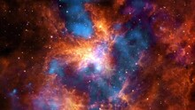 The Tarantula Nebula Or 30 Doradus In Magellanic Cloud Exploration On Deep Space. 4K Flight 3D Animation. Traveling Through Star Fields And Galaxies In Outer Space. Elements Furnished By NASA Image.