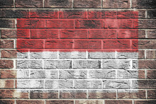 Indonesia Flag Painted On Brick Wall Background