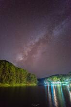 Starry Night, Pine Forest And Foggy Water At Pang Oung Or Pang Tong Royal Project (Mae Hong Son, Thailand)