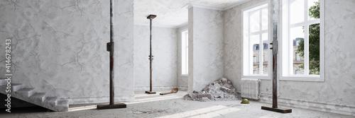 Fototapeta Baustelle bei Renovierung in Altbau Wohnung obraz