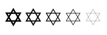 Star Of David Symbol. Jewish Israeli Religious Symbol. Judaism Sign. Vector Icon Outline Illustration In Different Thicknesses