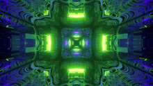 3D Rendering Of Kaleidoscopic Futuristic Wallpaper In Vibrant Green And Purple Colors