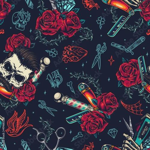 Barbershop colorful vintage seamless pattern - fototapety na wymiar