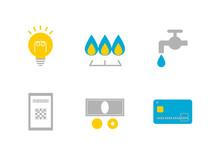 電気・ガス・水道と支払い方法 イラスト アイコンセット