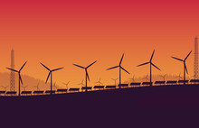 Silhouette Wind Turbine Solar Panel Farm On Orange Gradient Background