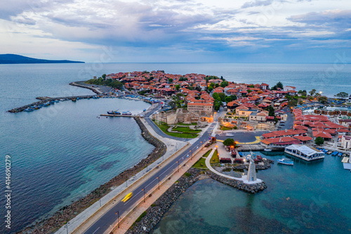 Sunset aerial view of the Bulgarian town Nessebar - fototapety na wymiar