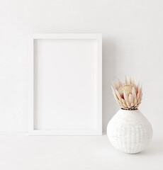 Fototapeta na wymiar Mock up frame close up in home interior background, Boho style, 3d render
