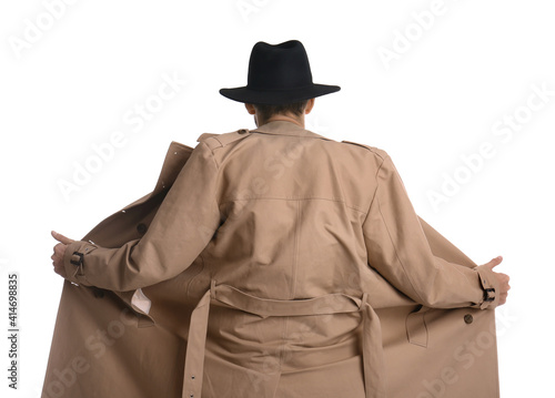 Photo Exhibitionist exposing naked body under coat isolated on white, back view