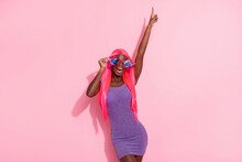 Photo Of Optimistic Nice Pink Hairdo Lady Dance Wear Spectacles Purple Dress Isolated On Background