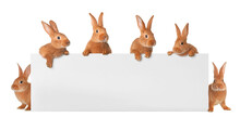 Cute Funny Bunnies Peeking Out Of Blank Banner, Space For Text. Easter Symbol