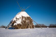 Wintry Field With Old Style Haystack, Padure, Latvia