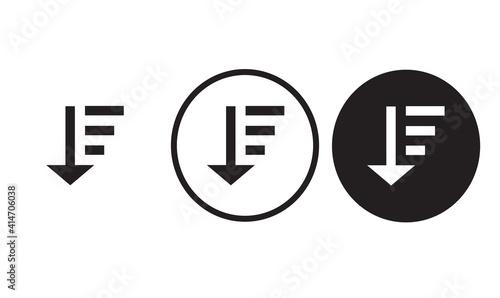 descending icon black outline for web site design  and mobile dark mode apps  Ve Fototapet
