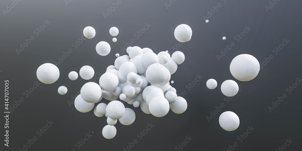 Fototapeta white ball spheres on dark black background 3d render illustration