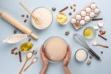Dough Preparing, Flour, Eggs, Butter, Sugar