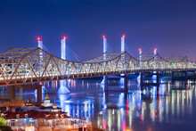 John F. Kennedy Bridge And Abraham Lincoln Bridge Crossing The Ohio River Into Louisville, Kentucky, USA