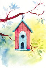 Wooden Red Birdhouse On A Tree Branch, Spring Watercolor Illustration