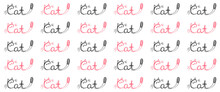 Seamless Pattern With Repeating Cat Lettering With Lettering C In The Shape Of Cat. Kids And Teen Clothes With Funny Black Pink Print. Cool Print For T-shirt, Smartphone Cover, Notebook, Wrapping.