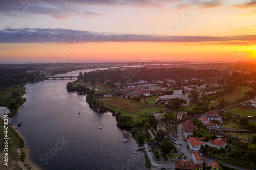 Esposende Fao drone aerial view of the city and Cavado river at sunset, in Portugal