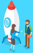 Startup business project, woman talking to man with book standing near rocket ready to fly into space. Creative innovation development, business mission achievement. Entrepreneur opportunity strategy