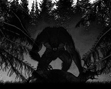 Illustration Of A Werewolf Dogman Bipedal Canine Standing Over A Fallen Deer In A Forest