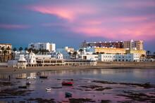 Atardecer Playa De La Caleta Cádiz Andalucía Balneario