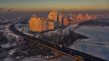 Snowy Residential Area Of Kiev. Aerial Drone View. Winter Snowy Morning.