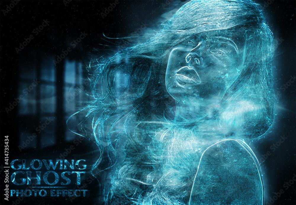 Fototapeta Ghost Glowing Blue Photo Effect Mockup
