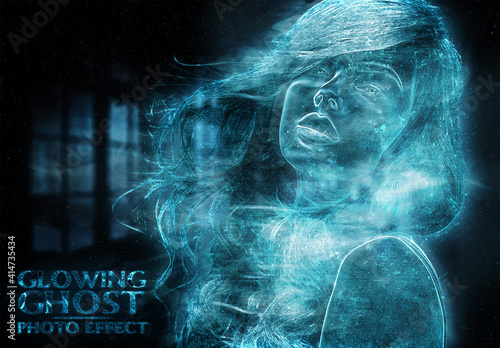 Fototapeta Ghost Glowing Blue Photo Effect Mockup obraz