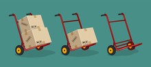 Set Of Red Trolleys With Carton Boxes On A Flat Background, Abstract Design, Vector Illustration Delivery Service Concept Hand Truck With Parcel Carton