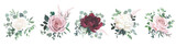 Greenery, burgundy red and white peony, blush rose flowers vector