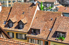 Top View On Red Tiled Roofs Of Old Europian Town