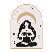 Celestial Woman Vector Illustration With Moon And Stars. Astrology Esoteric Boho Art. Mystic Astronomy Girl Card. Vintage Isolated Portrait.