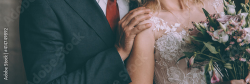 Fotografiet Bridal couple happy together, sensual bride and groom