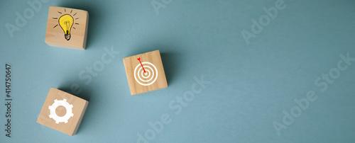 Goal Achievement Concept.Wooden Blocks - fototapety na wymiar