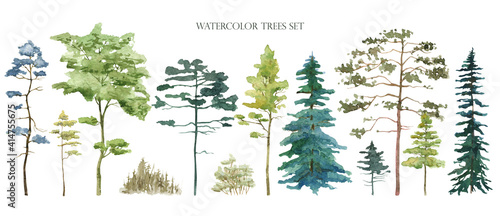 Obraz Watercolor tree set. Green pine, blue spruce, lush ash, beige bush - fototapety do salonu