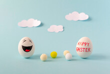 Merry Egg Laughing On Background With Clouds Happy Easter