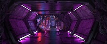 Street Of A Futuristic City, Starting With A Tunnel With Purple Neon Lighting. Photorealistic 3D Illustration. Night Scene In A City Of A Future. Cityscape In The Style Of Cyberpunk.