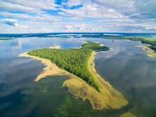 Aerial View Of Mamry Lake And Upalty Island - The Biggest Masurian Island, Mazury, Poland