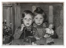 Cute Kids Toys Vintage Black White Picture
