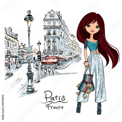 Obraz na plátně Vector cute brunette girl on a paris street in Paris, France
