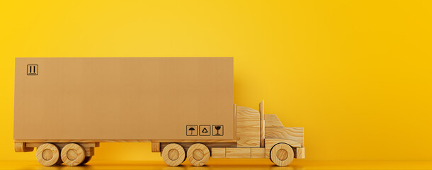 Big cardboard box package on a wooden toy truck ready to be delivered on yellow background