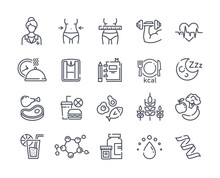 Large Set Of Line Black And White Drawn Diet Icons