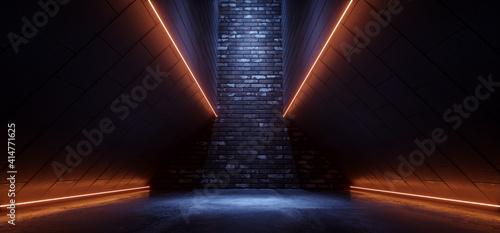 Fototapeta Sci Fi Alien Spaceship Neon Glowing Brick Line Orange Blue Cement Asphalt Glossy Hallway  Tunnel Corridor Cyber Modern Hangar Warehouse 3D Rendering obraz