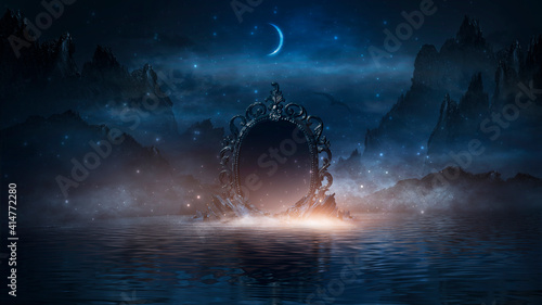 Abstract night fantasy landscape with mountains, river bank Wallpaper Mural